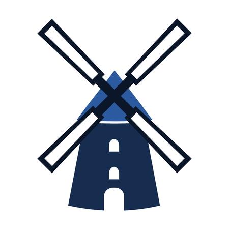 Blaue Windmühle Symbol - Illustration