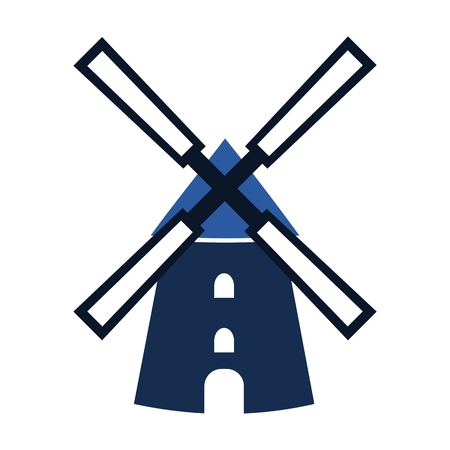 watermill: Blue Windmill icon - Illustration