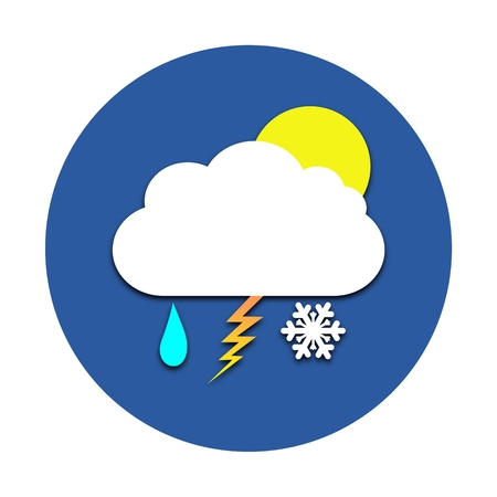 Sun, cloud, rain, snow and thunder circle icon