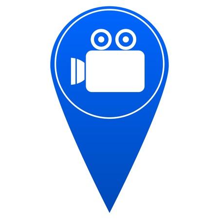 straight pin: Camera location marker - illustration Illustration
