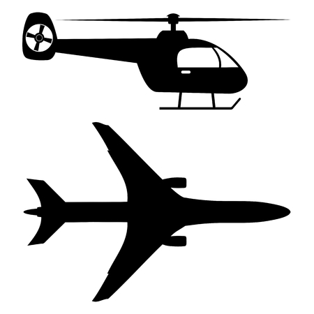 us air force: Plane and Helicopter Silhouette - Illustration