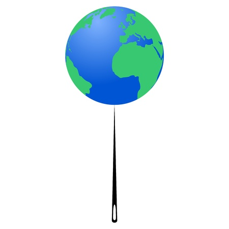 pandemia: Planet Earth on the tip of the needle Earth Day - illustration