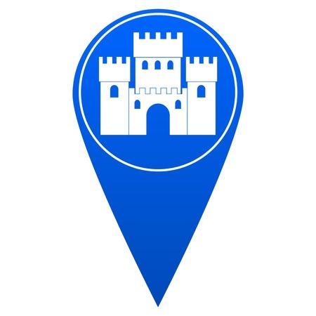 reference point: Castle blue map pointer - illustration Illustration