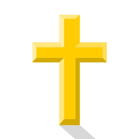 gold cross: Gold cross with shadow - illustration