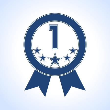 five stars: Blue Number 1 with five stars icon - Illustration
