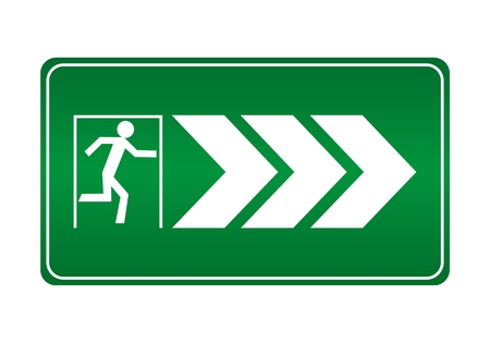 green exit emergency sign: Fire exit right - Illustration