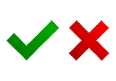 scrawl: Check mark and x - Illustration