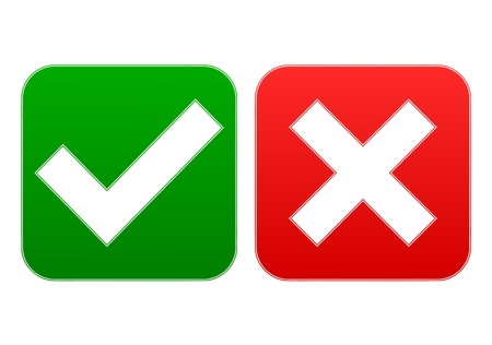 unbuttoned: Check mark and x - Illustration