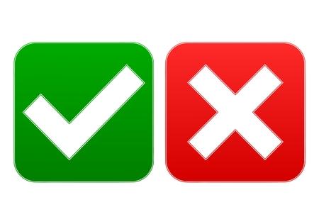 endorsing: Check mark and x - Illustration