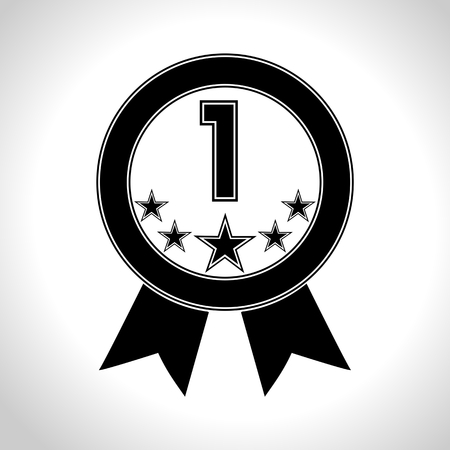 five stars: Number 1 with five stars icon - Illustration
