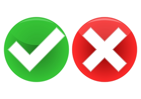 Check mark and x icon - Illustration Vectores