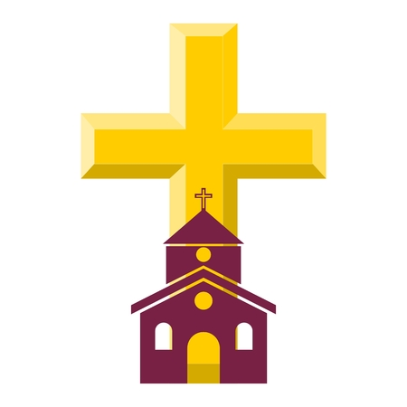 Gold Cross With Church - illustration