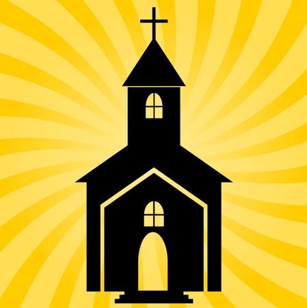 Church at Sunset - Illustration