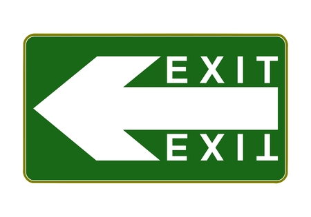 exit sign: Exit sign - exit way left