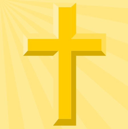 gold cross: Gold Cross and Bright Sunburst - Illustration