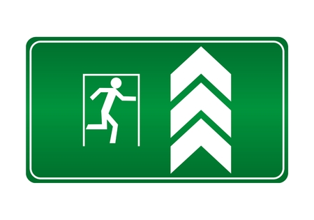 green exit emergency sign: Fire exit ahead - Illustration
