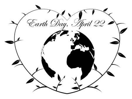 earth day: Earth Day Heart - illustration