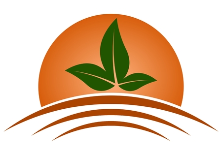 agriculture icon: Agriculture icon Sun, Earth and Leaf - Illustration