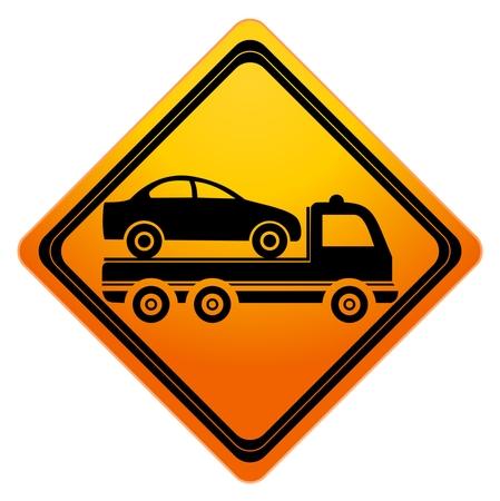 computer crash: Car towing truck Sign - illustration