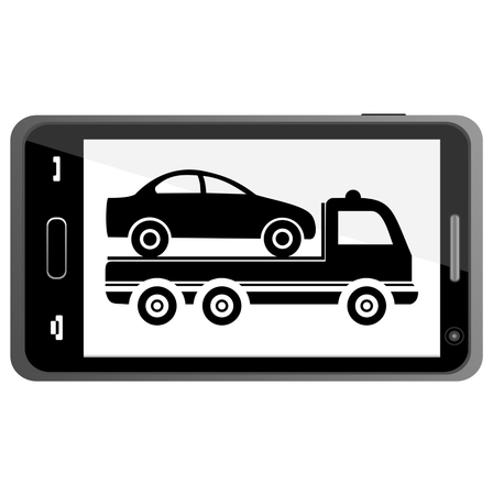 towing: Car towing truck on Smartphone - illustration Illustration