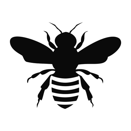 Black Bee Silhouette isolated on white background - illustration