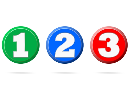 two dimensional shape: Numbers 1 2 3 - illustration Illustration