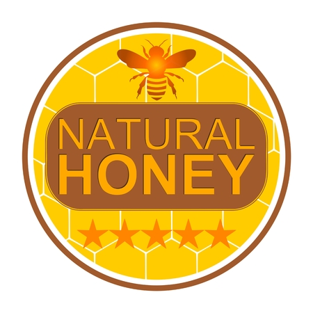 five stars: Honey Label with bee, five stars - illustration Illustration