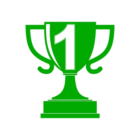 conquering adversity: Green Champion Cup icon Number 1 - Illustration