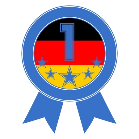 five stars: Blue Number 1 with five stars and the German flag Illustration