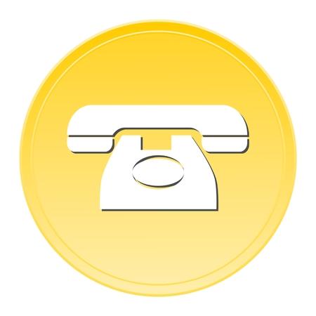 delivering: Telephone gold button Illustration