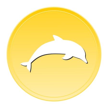 aquatic mammal: Dolphin Gold Icon Illustration