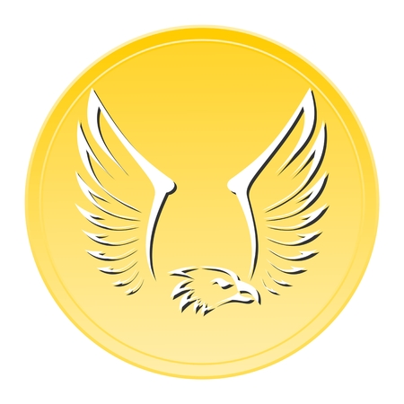 artificial wing: Eagle Gold Icon Illustration