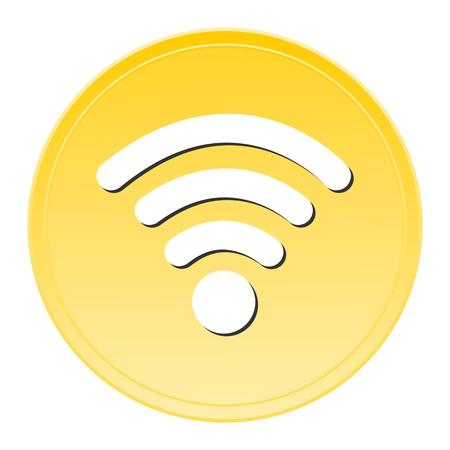 wi: Wi fi gold button Illustration