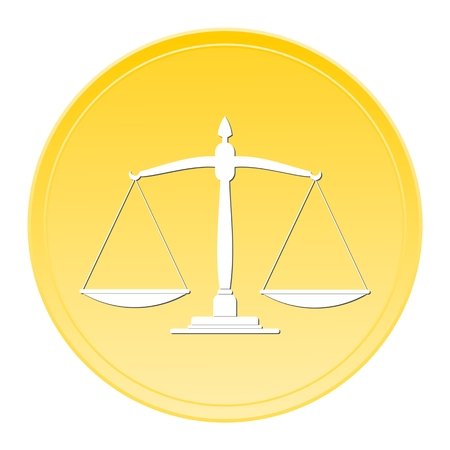 scale of justice: Justice scale Gold Button