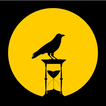 beat the clock: Sand Hourglass, the moon and crow - illustration