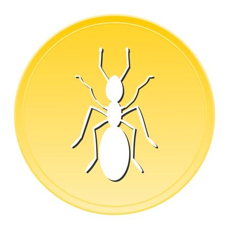 invasive: Ant Gold Icon Illustration