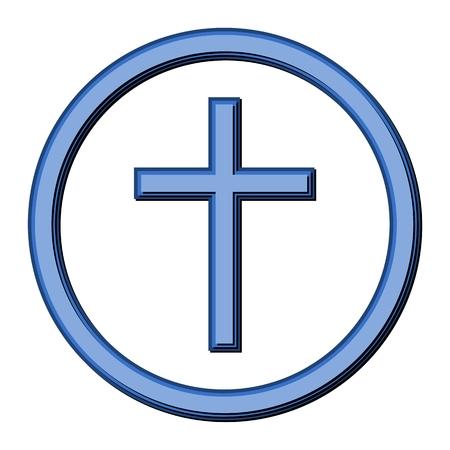 sacral: Cross and Circle Blue Illustration