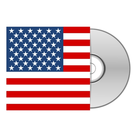 cd case: DVD or CD case with American US flag