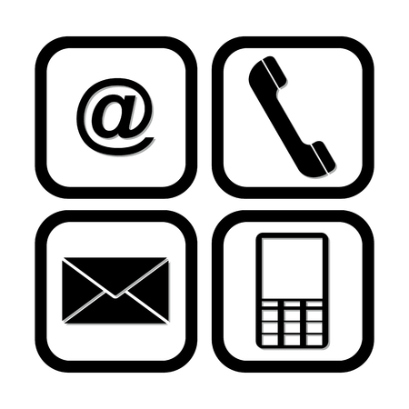 get in touch: Email, Letter, Phone, Mobile set