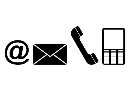 get in touch: Contact web and internet icons set