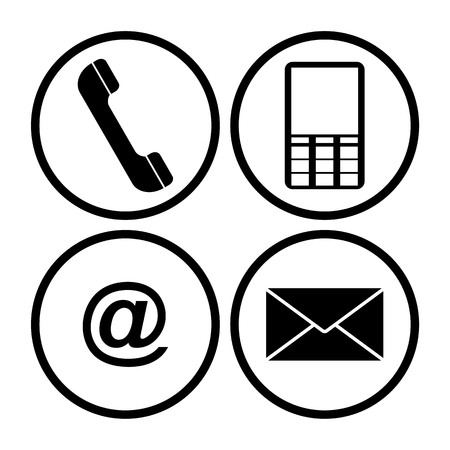 mobil: Contact icons set - envelope, mobile, phone, mail