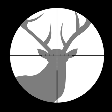 gun sight: Hunting Season with Deer in gun sight Illustration