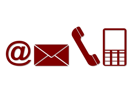 get in touch: Contact buttons - email, envelope, phone, mobile icons