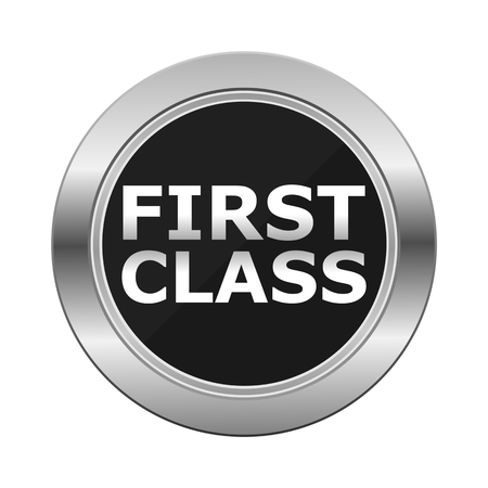 first in class: First Class Silver Button Illustration