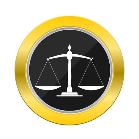 scale of justice: Justice Scale Yellow Button