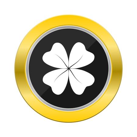 four leaf: Four Leaf Clover Yellow Button Illustration