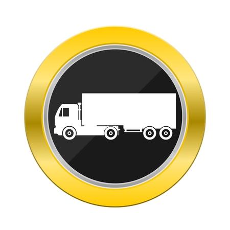 big truck: Big Truck Yellow Button Illustration