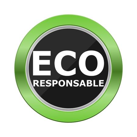 Eco Responsable bouton vert Vecteurs