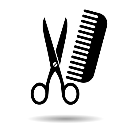 male grooming: Comb and Scissors black Illustration