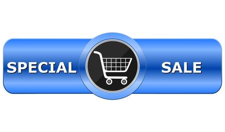 blue button: Special Sale Blue Button Illustration